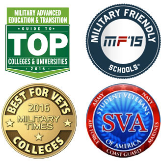 4 logos of organizations who endorse Illinois' support of veterans: Military Advanced Education Top Colleges and Universities, Military Friendly Schools, Best for Vets Colleges 2015 Military times, and Student Veterans of America
