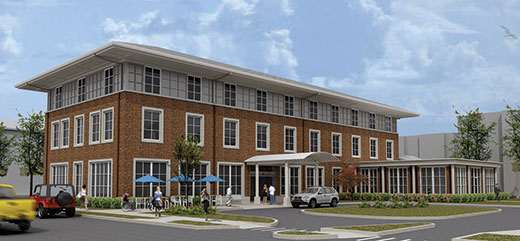 architect's rendering of the Chez Family Foundation Center for Wounded Veterans in Higher Education