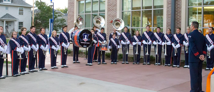 Illini marching band at opening of the Wounded Veterans Center