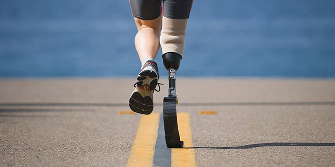 runner with one prosthetic leg
