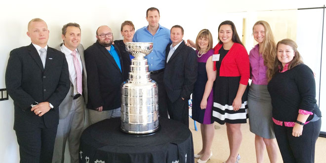 Center staff with the Stanley Cup trophy