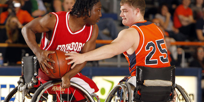 2 wheelchair basketball players